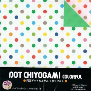 "Japanese Polka Dot Chiyogami Colorful Origami Folding Paper 6/"" 6 Color 36 Sheets"
