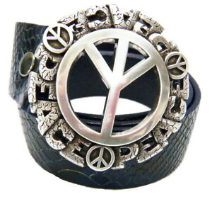 Perpetual-Vogue-Peace-Sign-Belt-Blue-Leather-Python-Design-Peace-Sign-Buckle