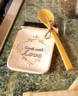 COUNTRY KITCHEN MASON JAR SHAPED SPOON REST W/BAMBOO SPOON CHARMING HOME DECOR