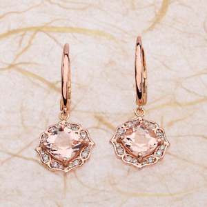 Details About 2 50ctw Cushion Cut Morganite Vintage Halo Dangling Earrings In 14k Rose Gold