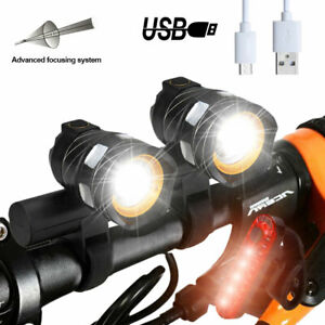 Zoom T6 LED Front Light USB Rechargeable Head Rear Lamp Set Bycicle Highlight