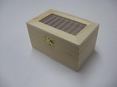 READY TO FINISH WOOD CRAFT TRINKET STORAGE BOX UNFINISHED PAINT STAIN VIEW-THRU