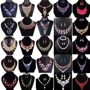 Fashion-Crystal-Pendant-Bib-Choker-Chain-Statement-Necklace-Earrings-Jewelry-Set