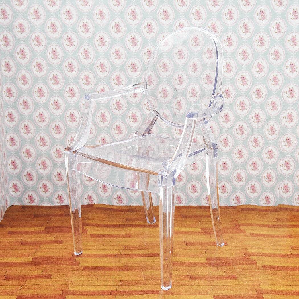 1 x Plastic Chair Furniture for Dolls Blythe Dollhouse Miniature 1:6 Black
