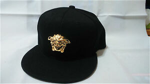 f04ba2a45d0 Details about Patent faux leather handmade gold medallion Medusa snapback  strapback cap hat