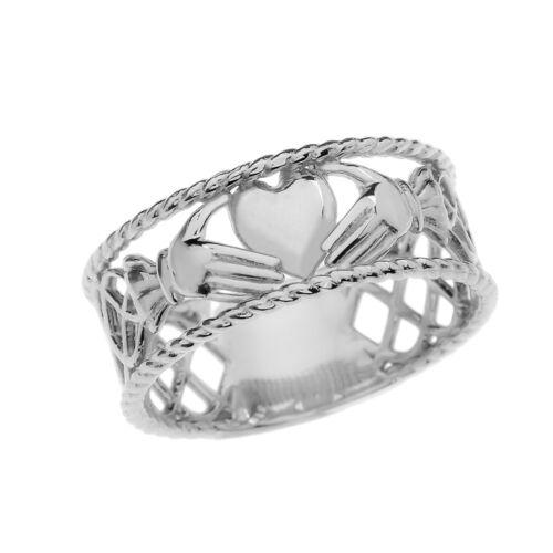 Fine 10k White Gold Claddagh Heart Hands Celtic Knot Open Ring