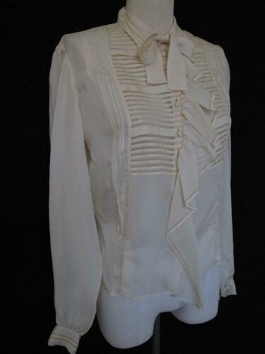 """Vintage 50s French Hand Sewn Silk Blouse 43"""" Bust"""
