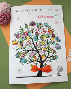 Handmade-Personalised-Card-New-Home-Sorry-You-039-re-Leaving-Large-034-Flower-Tree-034