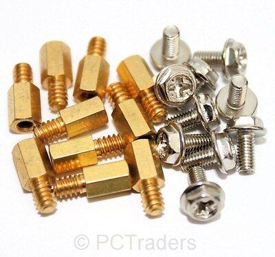 10x 6.5mm Brass Standoff 6-32 - M3 PC Case Motherboard Riser + Screws