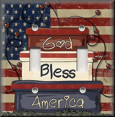 Light Switch Plate Cover - God Bless America - Folk Art - Primitive Home Decor