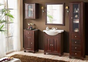 Details zu Badmöbel Set Retro 65 Badmöbel mit Waschbecken Badezimmermöbel  Natürliches Holz