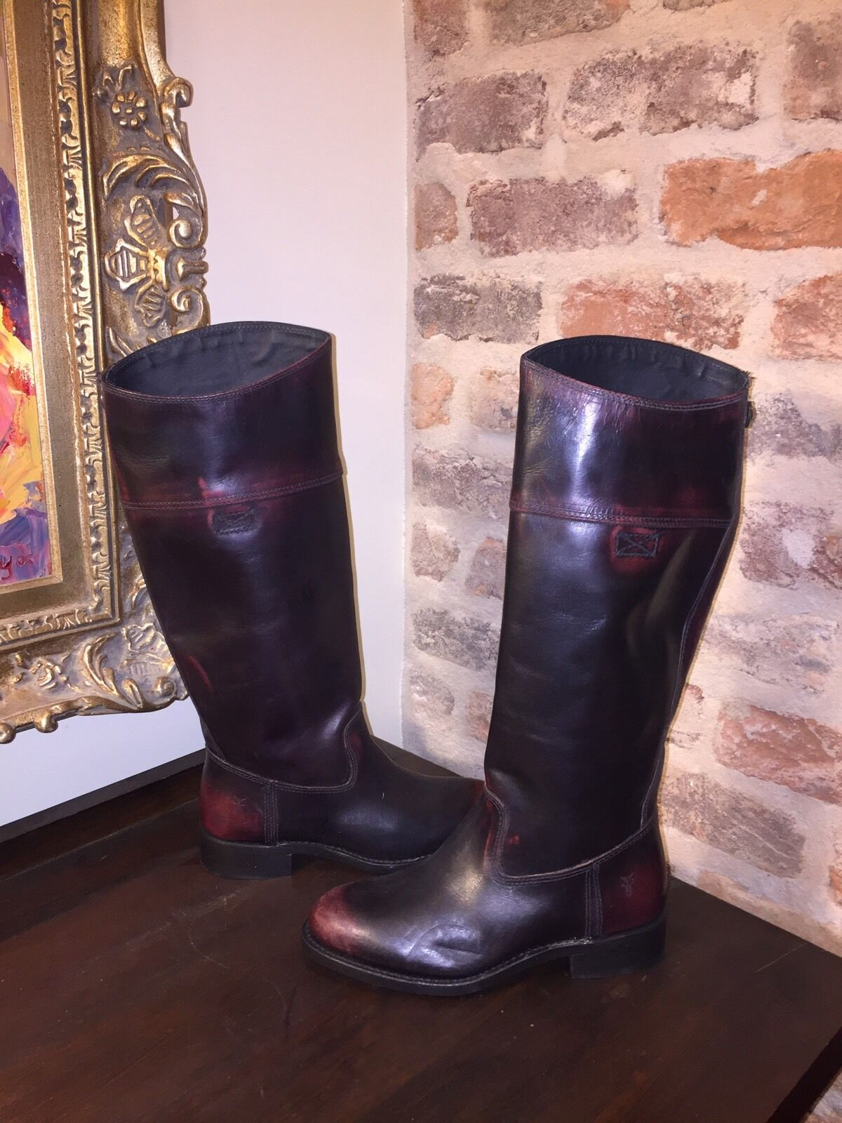FRYE WOMENS JET RIDING BOOTS DARK PLUMB BLACK WOMENS 6.5 NEW WITHOUT BOX