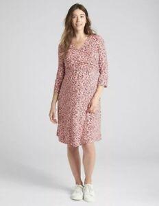 Print Pink Large L Purple Dress Gap Wrap Women White Floral Maternity Size wxXgq