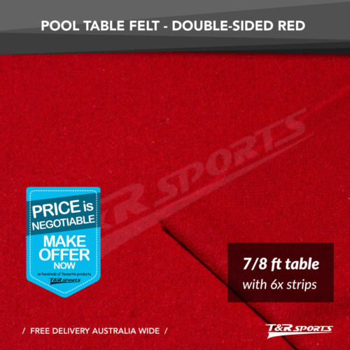 Red Double-sided Wool Pool Snooker Table Cloth + 6x Felt Strips for 7/ 8