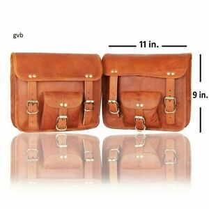 Details about  /2 Motorcycle Saddlebags 2 Side Pouch Brown Leather Pouch Panniers Saddle 2 bags