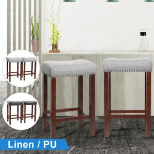Set of 2 Bar Stool Wood Legs Linen PU Padded Cushion Seat Dining Pub Bar Chair