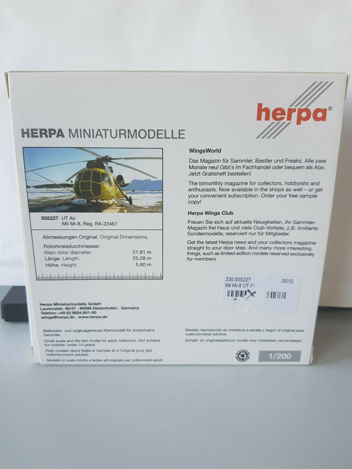 1 200 Herpa Herpa Herpa Wings 555227 UT Air Mil Mi-8 Reg. RA-22467 NEU & RAR    Um Eine Hohe Bewunderung Gewinnen Und Ist Weit Verbreitet Trusted In-und   8c2793