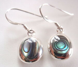 Reversible Black Onyx and Mother of Pearl 925 Sterling Silver Oval Earrings