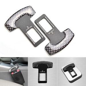 2-un-Fibra-De-Carbono-Coche-Asiento-Inserto-De-Seguridad-Hebilla-de-cinturon-alarma-Tapon-Eliminator