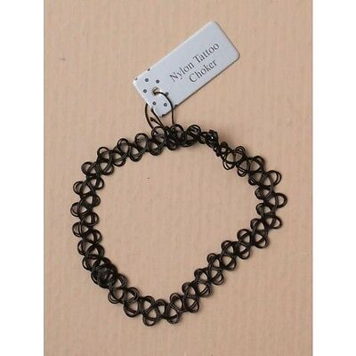 Black Nylon Tattoo Stretchy Choker Necklace - New!