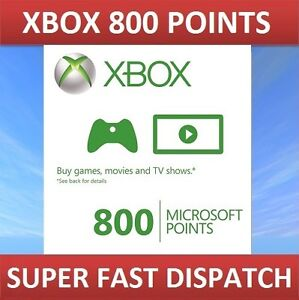 Details about 800 Microsoft Points Xbox Live Xbox One 360 UK and Europe