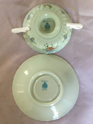 s Footed Cream Soup Bowl and Saucer Set Minton ROSETTA GREEN - England