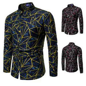Men-Casual-Long-Sleeve-Shirt-Business-Slim-Fit-Shirt-Print-Blouse-Tops-Fashion