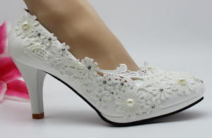 9db4eb6f1d4a NEW Lace white crystal Wedding shoes Bridal flats low high heel pump ...