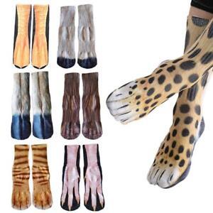 3073c60a229 US Funny Unisex Adult Kids Elastic Sock Animal Paw Feet Crew 3D ...