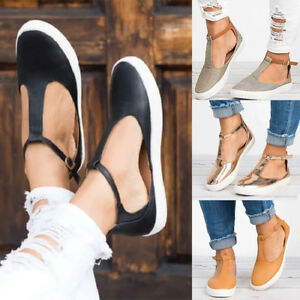 Women-Flat-Sole-T-Bar-Ankle-Strap-Sandals-Casual-Holiday-Beach-Closed-Toe-Shoes