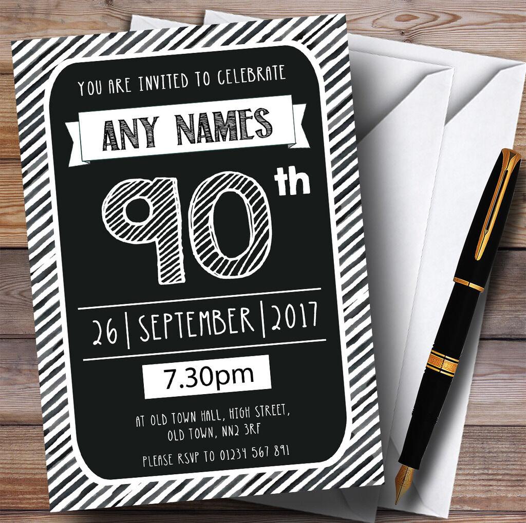 Noir deco & blanc rayée deco Noir 90th personnalisé fête d'anniversaire invitations c703d7