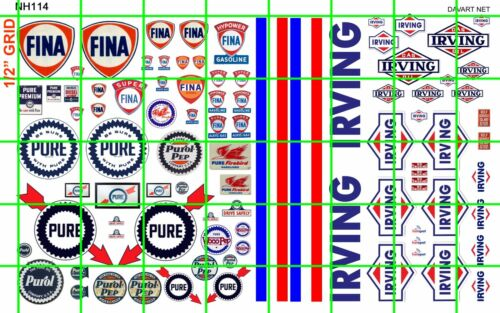 NH114 1//2 Set N SCALE GAS OIL SET FINA PURE IRVING SIGNAGE DAVE/'S DECALS
