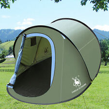 2-3 Person Army Green Outdoor Camping Hiking Tent Auto Pop Up Easy Setup Shelter