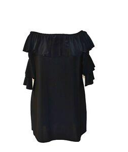 57f9bacf383611 Image is loading Womens-Plus-Size-Bardot-Top-in-black-orange-