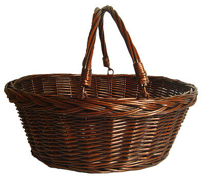 Traditional Wicker Shopping Basket with Plaited Top Edge - VINTAGE BROWN 46cm
