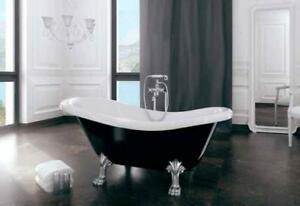 ovalebadewanne oval wanne badewanne otylia freistehende schwarz weiss 170 x 77 ebay. Black Bedroom Furniture Sets. Home Design Ideas