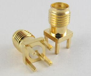10-piezas-de-oro-SMA-Hembra-Jack-A-montaje-de-placa-de-circuito-impreso-Conector-Coaxial-De