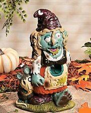 "Female Zombie Ghoul Monster Garden Gnome w/ Rat Pet Halloween Yard Decor 11""H"