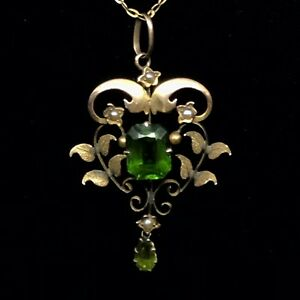 PENDANT-9CT-LAVALIER-ART-NOUVEAU-NAT-SEED-PEARLS-AND-GREEN-PASTE-STONES