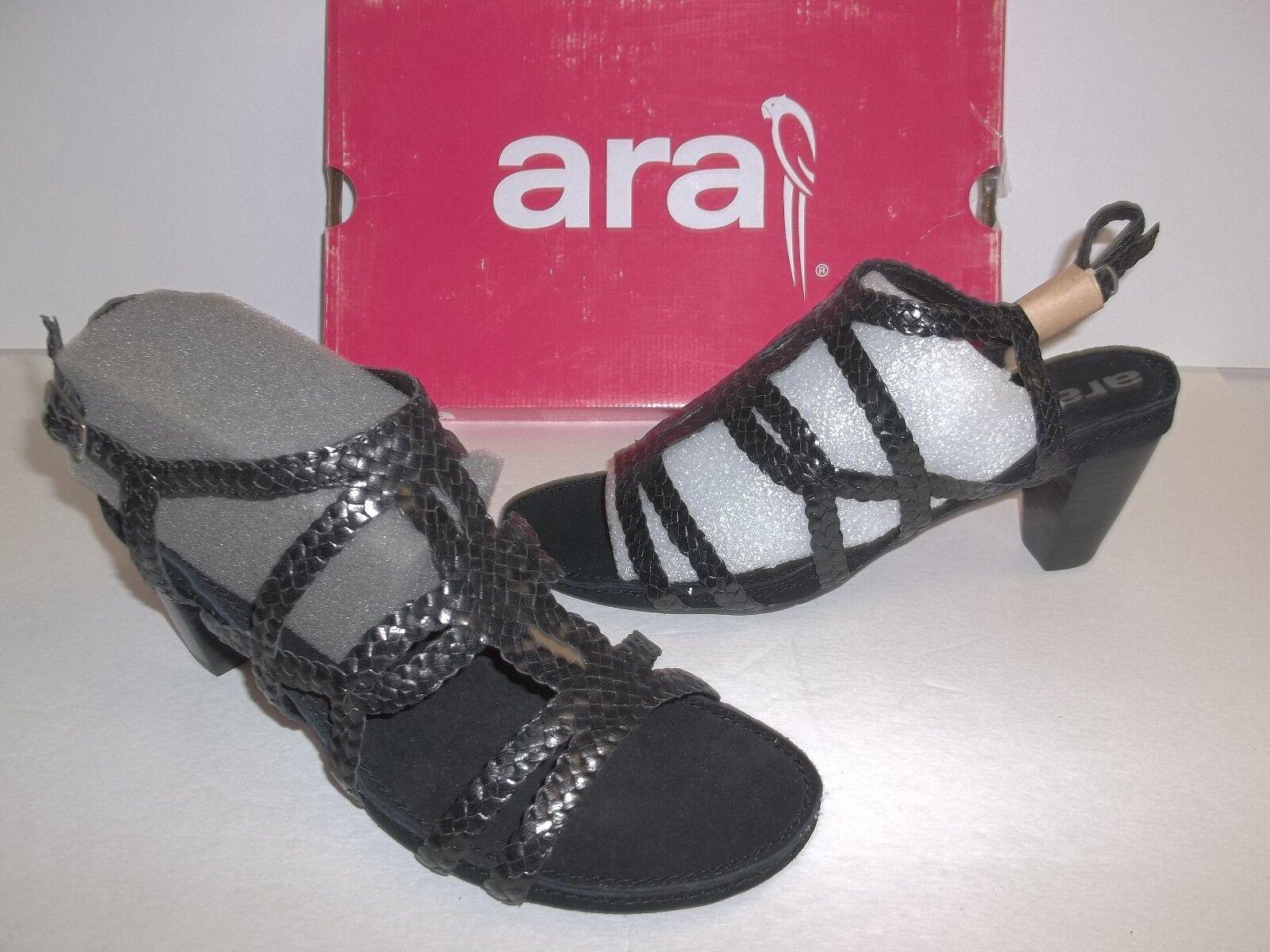 Ara Size 9 M Raven Black Woven Leather Leather Leather Sandal New Womens shoes 82ec2e