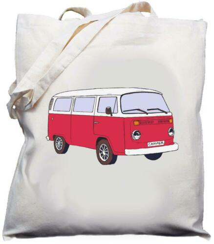 Cream choice of 9 Natural Retro Camper Van Bus Design Cotton Shoulder Bag