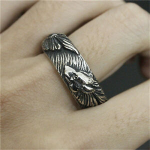 Valknut-Odin-039-s-wolf-Symbol-of-Norse-Viking-Warriors-silver-ring-Punk-Gothic