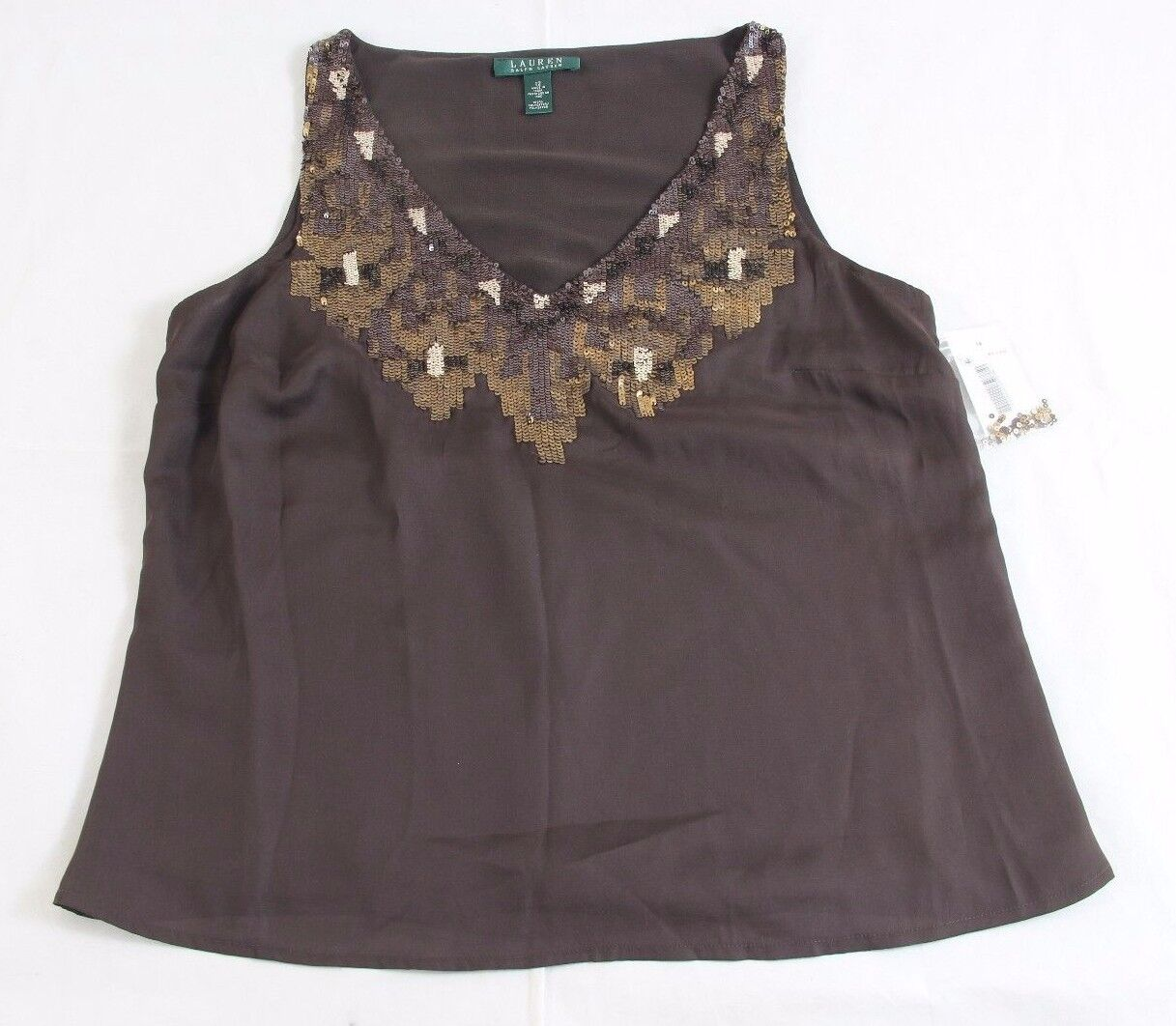 8a37b7e3ed BNWT Ralph Lauren Brown Decorative Sleeveless Tank Top Size 12 100%  Authentic