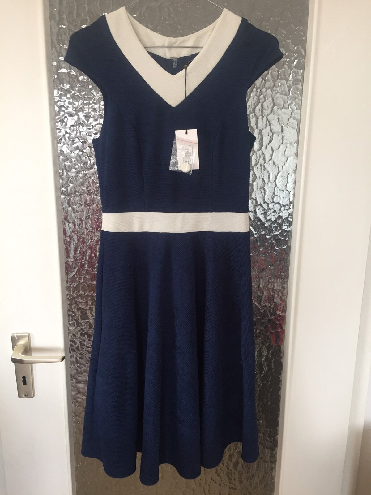 Fever London Lombardia A Line Dress Navy White Vintage Kleid 34 NEU
