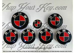 Negro-amp-Rojo-Ardiente-Emblema-Insignia-Revestido-Envolvente-para-BMW-Hood-Maletero