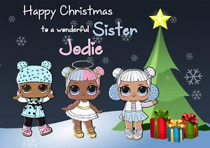 Handmade Personnalisé Carte de Noël fille petite-fille nièce soeur