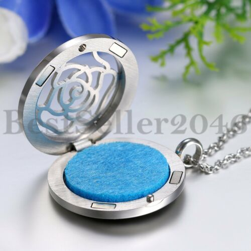 Rose Flower Pattern Locket Pendant Aromatherapy Essential Oil Diffuser Necklace