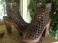 Five Worlds by Cordani Ana Womens Platform Open-toed Brown Leather Bootie 6.5M