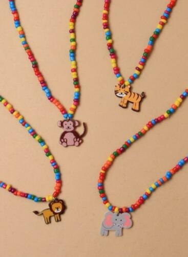 New Bright Colour Bead Necklace /& Bracelet Set with Animal Charm Lion Tiger Monk