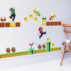 Image Is Loading Super Mario Bros Mural Decals Removable Wall Sticker